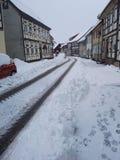 Schnee in Deutschland Stockfoto