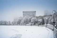 Schnee Donetsk, Ukraine Stockfotos