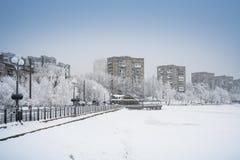 Schnee Donetsk, Ukraine lizenzfreie stockbilder