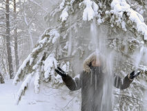 Schnee fällt auf das man& x27; s-Kopf von der Kiefer Lizenzfreie Stockfotos