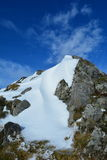 Schnee, Felsen und Himmel Stockfoto