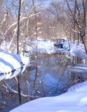 Schnee, Fluss und Bäume Stockbilder