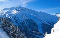 Schnee-Gebirgstal stockfotos