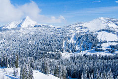 Schnee-Gebirgstal stockfoto