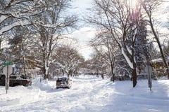 Schnee gefüllte Baum gezeichnete Straße Stockbild