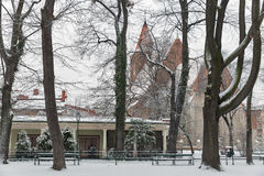 Schnee im Park krakau polen Stockfotografie