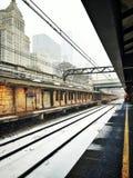 Schnee im Stadtzentrum Stockfoto