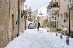 Schnee in Jerusalem Stockfoto
