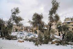 Schnee in Jerusalem Stockbild