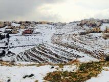 Schnee in Jordanien Lizenzfreie Stockfotos