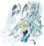 Schnee-Königin und kleiner Junge Stockfotografie