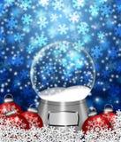 Schnee-Kugel-Leerzeichen und Weihnachtsbaum-Verzierungen lizenzfreie abbildung