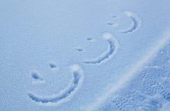Schnee-Lächeln-Gesichter Stockfoto