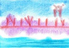 Schnee-Landschaft durch die meeres- weiche Pastellmalerei stockfotos