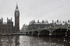Schnee in London stockfoto