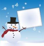 Schnee-Mann mit Anschlagbrett Stockfoto