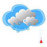 Schnee mit Thermometer Stockbild