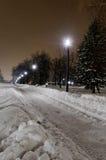 Schnee-Pfad durch Belgrad-Park Stockfotografie