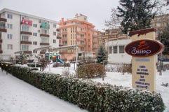Schnee in Pomorie in Bulgarien Stockfoto