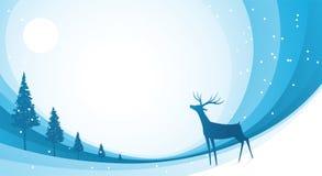 Schnee-Ren-Blau Stockbild
