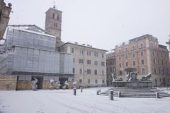 Schnee in Rom Stockfoto