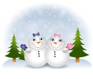 Schnee-Schätzchen-Schneemänner lizenzfreie abbildung