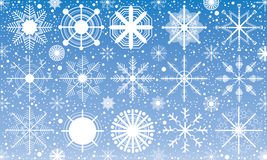 Schnee, Schneeflocke auf blauem Hintergrund Schnee im Winter Stockbild