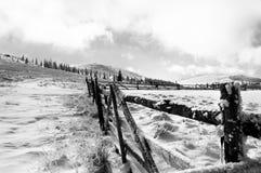 Schnee am sheepfold Stockbild