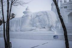 Schnee-Skulpturen am Harbin-Eis und am Schnee-Festival in Harbin China stockbild