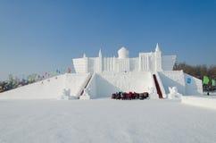 Schnee-Skulpturen am Harbin-Eis und am Schnee-Festival in Harbin China Stockfotos