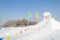 Schnee-Skulpturen am Harbin-Eis und am Schnee-Festival in Harbin China Lizenzfreie Stockfotografie