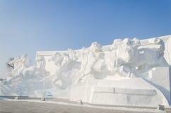 Schnee-Skulpturen am Harbin-Eis und am Schnee-Festival in Harbin China Lizenzfreies Stockbild