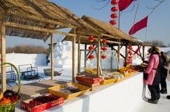 Schnee-Skulpturen am Harbin-Eis und am Schnee-Festival in Harbin China Stockbilder