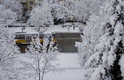 Schnee-Stadt Stockfotos