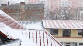 Schnee-Sturm in der Stadt stock video footage