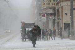 Schnee-Sturm in Wien Stockbild