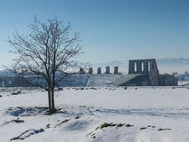 Schnee um Roman Amphitheatre Stockfotografie