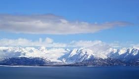 Schnee umfaßte Gletscheransicht Stockbild