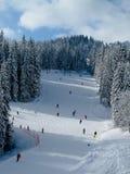 Schnee umfaßte Ski piste lizenzfreie stockfotos