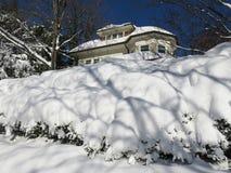 Schnee umfasste Büsche und Haus Lizenzfreie Stockfotos
