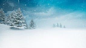Schnee umfasste ruhige Winterlandschaft an den Schneefällen stock abbildung