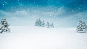 Schnee umfasste Winterlandschaft an den Schneefällen lizenzfreie abbildung