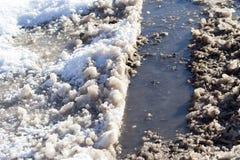 Schnee und Eis auf der Straße Lizenzfreie Stockfotos