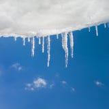 Schnee und Eiszapfen Lizenzfreie Stockfotos