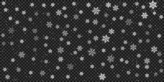 Schnee und Schneeflocken Hintergrund, Muster Eisiger Sturm des Winters, Schneefalleffekt Vektorgestaltungselemente für Weihnachte stock abbildung
