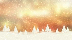 Schnee- und Weihnachtsbäume HD 1080 goldener bokeh Hintergrund lizenzfreie abbildung