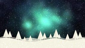Schnee- und Weihnachtsbäume HD 1080 grüner bokeh Hintergrund stock abbildung
