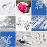 2016, Schnee und Winterfotogrußkarte Stockfotos