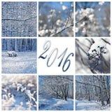2016, Schnee und Winterlandschaftsgrußkarte Stockbilder