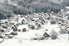 Schnee von historischen Dörfern von Shirakawa-g? und von Gokayama Stockbilder